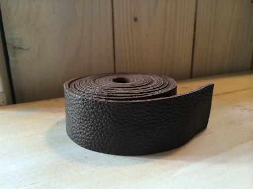 画像1: 革テープ(こげ茶) 3cm幅 140cm カット済み